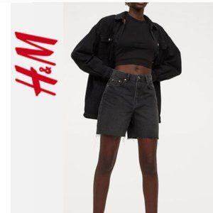 H&M Black High Waist Bermuda Shorts 10